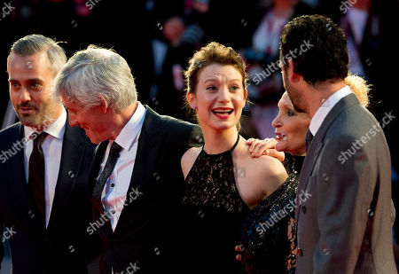 Iain Canning, John Curran, Mia Wasikowska, Robyn Davidson, Emile Sherman From left, producer Iain Canning, director John Curran, actress Mia Wasikowska, writer Robyn Davidson and Emile Sherman arrive on the red carpet for the screening of their film Tracks, at the 70th edition of the Venice Film Festival held from Aug. 28 through Sept. 7, in Venice, Italy