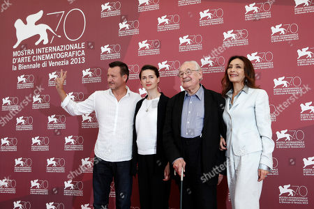 Robert Wieckiewicz, Agnieszka Grochowska, Andrzej Wajda, Maria Rosaria Omaggio From left, actors Robert Wieckiewicz, Agnieszka Grochowska, director Andrzej Wajda and actress Maria Rosaria Omaggio pose for photographers during the photo call for the film Walesa. Man Of Hope, during the 70th edition of the Venice Film Festival held from Aug. 28 through Sept. 7, in Venice, Italy