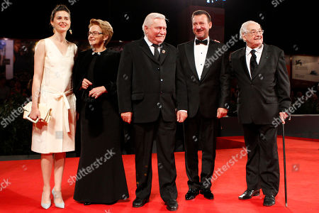 From right, director Andrzej Wajda, actor Robert Wieckiewicz, former Polish President Lech Walesa, his wife Miroslawa Danuta Walesa and actress Agnieska Grochowska, pose for photographers during the red carpet for the film Walesa. Man Of Hope at the 70th edition of the Venice Film Festival held from Aug. 28 through Sept. 7, in Venice, Italy