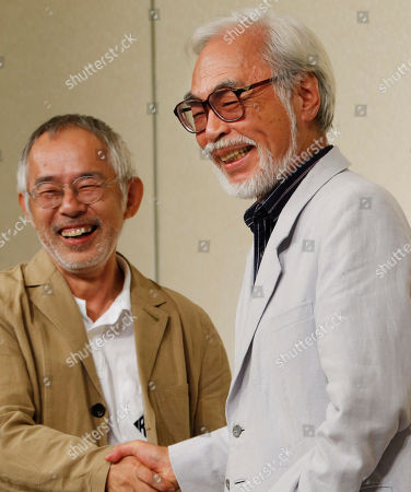 Hayao Miyazaki, Toshio Suzuki Hayao Miyazaki, right, one of animation's most admired and successful directors, shares a laugh with Toshio Suzuki, chairman and producer of Studio Ghibli Inc., as they shake hands during a press conference on his retirement in Tokyo . The Japanese master of whimsical animation, Miyazaki, has retired before. This time, he says he really means it. He said Friday that at age 72 he wants to do other things besides slaving away over his drawings to meet feature film deadlines