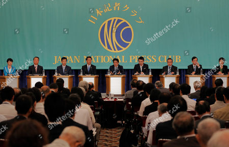 Mizuho Fukushima, Ichiro Ozawa, Natsuo Yamaguchi, Banri Kaieda, Shinzo Abe, Toru Hashimoto, Yoshimi Watanabe, Kazuo Shii, Kuniko Tanioka Japan's Prime Minister Shinzo Abe, center, of the Liberal Democratic Party speaks as leaders of eight other Japanese political parties listen to him during their debate for upper house elections to be held on July 21 at the Japan National Press Club in Tokyo . They are from left, Mizuho Fukushima of the Social Democratic Party, Ichiro Ozawa of the People's Lives First Party, Natsuo Yamaguchi of the New Komeito Party, Banri Kaieda of the Democratic Party of Japan, Abe, Toru Hashimoto of the Japan Restoration Party, Yoshimi Watanabe of Your Party, Kazuo Shii of the Communist Party and Kuniko Tanioka of the Green Wind Party