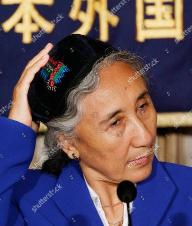 Rebiya Kadeer World Uyghur Congress President Rebiya Kadeer adjusts her cap during a press conference in Tokyo
