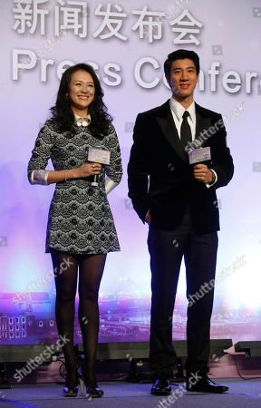 "Zhang Ziyi, Wang Leehom Chinese actress Zhang Ziyi and American-Taiwanese actor-singer Wang Leehom pose for photographers during a press conference to promote their movie ""My Lucky Star"" in Macau"