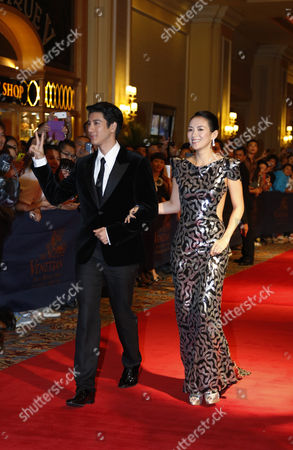"Zhang Ziyi, Wang Leehom Chinese actress Zhang Ziyi, right, and American-Taiwanese actor-singer Wang Leehom attend the premiere of their movie ""My Lucky Star"" in Macau"
