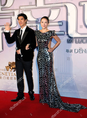 "Zhang Ziyi, Wang Leehom Chinese actress Zhang Ziyi, right, and American-Taiwanese actor-singer Wang Leehom pose during the premiere of their movie ""My Lucky Star"" in Macau"