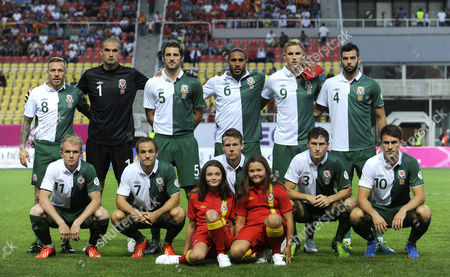 Craig Bellamy, Glyn Myhill, Samuel Ricketts, Ashley Williams, Jack Collison, Joseph Ledley, Jonathan Williams, David Vaughan, Chris Gunter, Davies Benjamin Thomas, Aaron Ramsey Wales' national soccer team line-up for a team photo prior to their World Cup 2014 Group A qualifying soccer match against Macedonia, at Philip II arena in Skopje, Macedonia, . Top from left, Craig Bellamy, Glyn Myhill, Samuel Ricketts, Ashley Williams, Jack Collison, Joseph Ledley. Bottom from left, Jonathan Williams, David Vaughan, Chris Gunter, Davies Benjamin Thomas, Aaron Ramsey