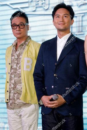 """Francis Ng, Chilam Cheung Hong Kong actors Francis Ng, left, and Chilam Cheung attend Hong Kong TVB drama """"Triumph in the Skies 2"""" promotional event at a shopping mall in Petaling Jaya, near Kuala Lumpur, Malaysia"""