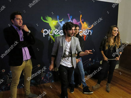 """Stock Image of David Anguiano, Juan Ugarte, Fernanda Arozqueta, Lakshmi Picazo Presenters of the new evening TV program line-up """"PM"""" on Televisa's Channel, from left, David Anguiano, Juan Ugarte, Fernanda Arozqueta and Lakshmi Picazo attend a press event promoting the show in Mexico City"""