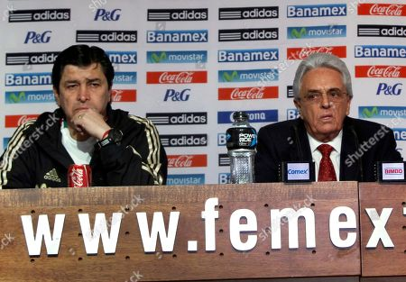 Luis Fernando Tena, Justino Compean Mexico's new soccer team coach Luis Fernando Tena, left, and Mexican Football Federation President Justino Compean attend a press conference in Mexico City, . Tena took over as Mexico coach on Saturday hours after an embarrassing home loss to Honduras in World Cup qualifying ended the two-year tenure of Jose Manuel De la Torre