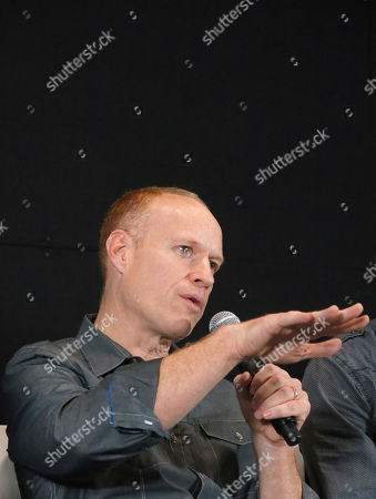 Stock Photo of Jon Schmidt American pianist and songwriter of The Piano Guys, Jon Schmidt, talks during a press conference to promote their upcoming concert in Mexico City . The band will perform at Teatro Metropolitan in Mexico City on July 31