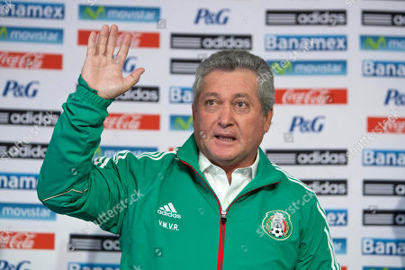 """Stock Picture of Victor Manuel Vucetich Victor Manuel Vucetich waves during his presentation as the new coach for Mexico's national soccer team in Mexico City, . Vucetich is one of the most successful coaches in the local league, where he´s known as """"King Midas"""" after winning 14 of 15 the finals he has managed in his career. He replaces Jose Manuel De la Torre who was fired on Saturday after a loss to Honduras"""