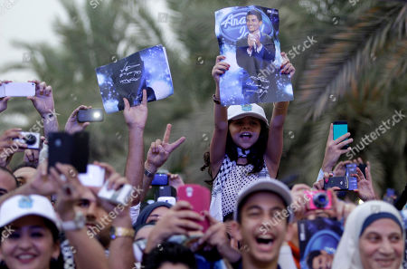 Stock Image of Mohammad Assaf Fans of Arab Idol Mohammad Assaf, a 23 year old singer from Gaza, react to his arrival at MBC television headquarter sin Dubai, United Arab Emirates