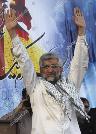 Saeed Jalili Iranian presidential candidate Saeed Jalili, who is also Iran's top nuclear negotiator, waves to his supporters in a campaign rally, two days prior to the presidential election, in Tehran, Iran