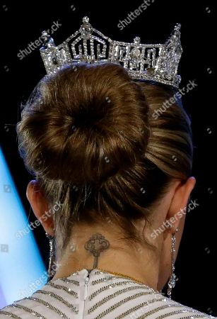 Mallory Hagan A tattoo is seen on the neck of Miss America 2013 Mallory Hagan during the Miss America 2014 pageant, in Atlantic City, N.J