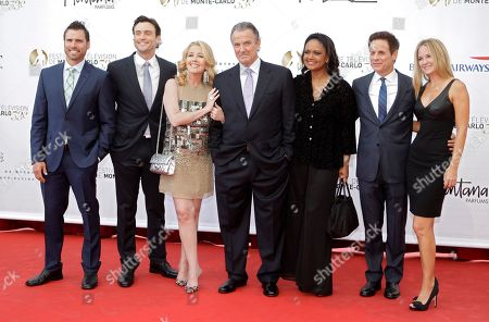 """US Actors left to right Joshua Morrow, Daniel Goddard, Melody Thomas Scott Eric Braeden, Tonya Lee Williams, Christian Leblanc and Sharon Case of the TV series """"Young and Restless"""" poses during the opening ceremony of the 2013 Monte Carlo Television Festival, in Monaco"""