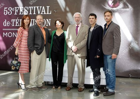 """From left, actress Gabriella Pession, producer Edward Bernero, executive producer Rola Bauer, actors Donald Sutherland, Marc Lavoine, and Tom Wlaschita of TV series """"Crossing Lines"""" pose for photographers during the 2013 Monte Carlo Television Festival, in Monaco"""