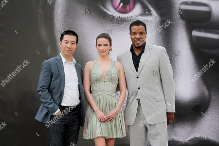 """Reggie Lee, Bitsie Tulloch, Russell Hornsby From leftt, actors Reggie Lee, Bitsie Tulloch and Russell Hornsby of TV series """"Grimm"""" pose for photographers during the 2013 Monte Carlo Television Festival, in Monaco"""