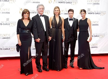 Left to right, actors Linda Gray,Patrick Duffy, Brenda Strong, Josh Henderson and Julie Gonzalo pose for photographers during the closing ceremony of the 2013 Monte Carlo Television Festival, in Monaco