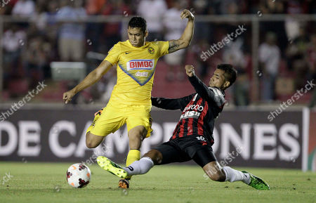 Andres Felipe Andrade, Manuel Bonilla Mexico's Club America's Andres Felipe Andrade, left, fight for the ball with Panama's Sporting San Miguelito Manuel Bonilla at a CONCACAF Champions League soccer match in Panama City