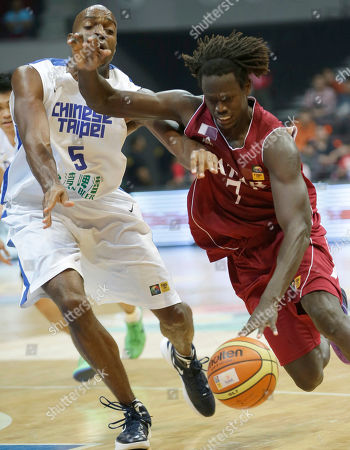 Daoud Musa Daoud, Quincy Davis III Qatar's Daoud Musa Daoud (7) dribbles past Taiwan's Quincy Davis III during their FIBA Asia Basketball Championship Wednesday, Aug.7, 2013, at the Mall of Asia Arena in Pasay city south of Manila, Philippines. Qatar won 71-68