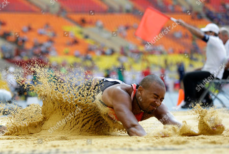 Stock Image of Germany's Alyn Camara competes in the men's long jump qualification at the World Athletics Championships in the Luzhniki stadium in Moscow, Russia