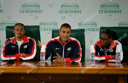 Aries Merrit, Ashton Eaton, Brittney Reese From left, Aries Merrit, Ashton Eaton, and Brittney Reese, all of the United States, speak during a news conference ahead of the start of the IAAF World Athletics championships in Moscow, Russia, on