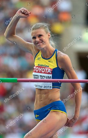Sweden's Emma Green Tregaro reacts after an attempt in the women's high jump final at the World Athletics Championships in the Luzhniki stadium in Moscow, Russia