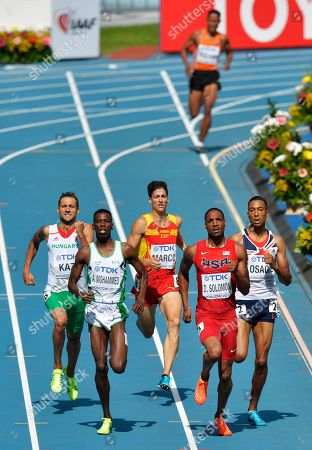 From right, Britain's Andrew Osagie, United States' Duane Solomon, Spain's Luis Alberto Marco, South Africa's Andre Olivier and Hungary's Tamas Kazi compete in a men's 800-meter heat at the World Athletics Championships in the Luzhniki stadium in Moscow, Russia