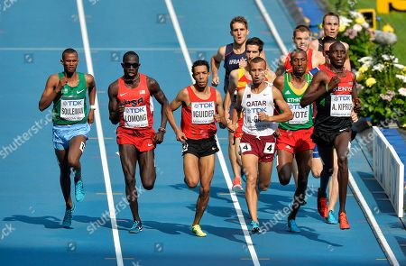 From left, Djibouti's Ayanleh Souleiman, United States' Lopez Lomong, Morocco's Abdalaati Iguider, Qatar's Mohamad Al-Garni, Ethiopia's Aman Wote and Kenya's Asbel Kiprop compete in a men's 1500-meter heat at the World Athletics Championships in the Luzhniki stadium in Moscow, Russia