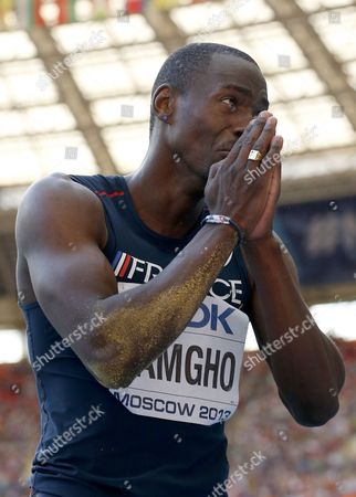 France's Teddy Tamgho reacts after an attempt in the men's triple jump final at the World Athletics Championships in the Luzhniki stadium in Moscow, Russia