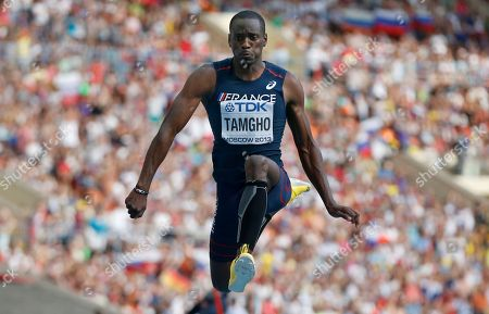 France's Teddy Tamgho competes in the men's triple jump final at the World Athletics Championships in the Luzhniki stadium in Moscow, Russia