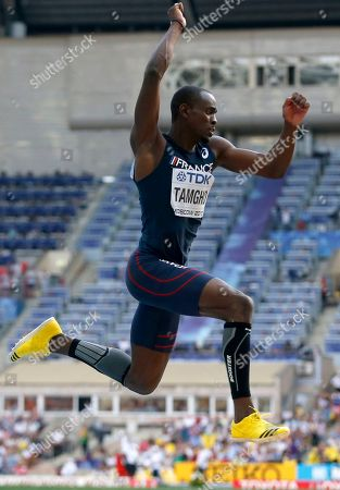 France's Teddy Tamgho makes an attempt in the men's triple jump final at the World Athletics Championships in the Luzhniki stadium in Moscow, Russia