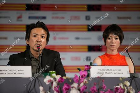 Yoko Maki, Shima Onishi Japanese actors Shima Onishi, left, and Yoko Maki attend a news conference at the 35th Moscow International Film Festival in Moscow, Russia, . Yoko Maki stars in The Ravine of Goodbye, a Japanese drama film directed by Tatsushi Omori, which is in competition at the Moscow International Film Festival