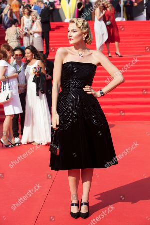 Stock Image of Renata Litvinova Russian actress, film director and screenwriter Renata Litvinova poses on the red carpet at the closing ceremony of the 35th Moscow International Film Festival in Moscow, Russia, on