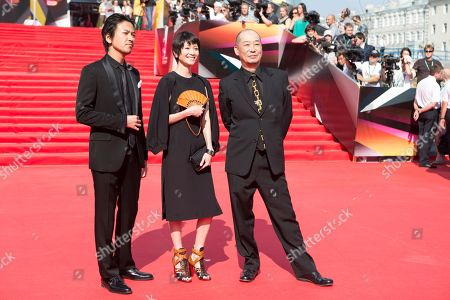"Stock Photo of Shima Onishi, Yoko Maki, Tatsushi Omori From left, Japanese actors Shima Onishi, Yoko Maki and film director Tatsushi Omori pose on the red carpet at the closing ceremony of the 35th Moscow International Film Festival in Moscow, Russia, on . Omori got a special prize for his film "" The Ravine of Goodbye"