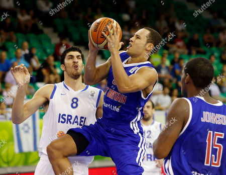 Andrew Lawrence, Lior Eliyahu Britain's Andrew Lawrence, center, challenges for the ball with Israel's Lior Eliyahu, left, during their EuroBasket European Basketball Championship Group A match in Ljubljana, Slovenia