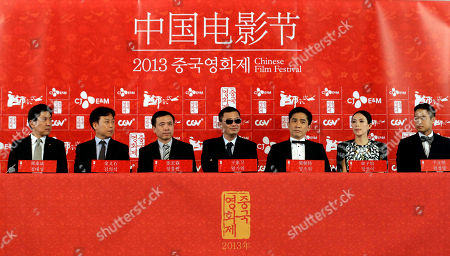 Jeong Tae-sung, Kim Eui-suk, Wong Kar-wai, Tony Leung, Zhang Ziyi, Chun Jung-myung Hong Kong director Wong Kar-wai, center, Hong Kong actor Tony Leung, third right, Chinese actress Zhang Ziyi, second right, and South Korean actor Chun Jung-myung, far right, attend the press conference for the Chinese Film Festival in Seoul, . The 5th Chinese Film Festival opened in Seoul on Sunday for a 5-day celebration of Chinese films to boost bilateral cooperation of the movies and culture. At left is head of CJ E&M Pictures Jeong Tae-sung, and Chairman of Korean Film Council Kim Eui-suk, at second left