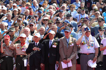 Korean War veterans from foreign country and South Korea salute during the 63nd Incheon Landing Operations Commemoration ceremony, in Incheon, South Korea. Incheon is the coastal city where United Nations Forces led by U.S. General Douglas MacArthur landed in September, 1950 just months after North Korea invaded the South