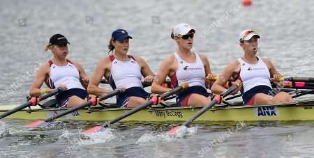 Zsuzsanna Francia, Kara Kohler, Esther Lofgren and Megan Kalmoe The United States women's quadruple sculls members, from left, Zsuzsanna Francia, Kara Kohler, Esther Lofgren and Megan Kalmoe take part in a training session of the World Rowing Championships in Chungju, south of Seoul, South Korea
