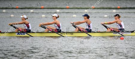 Zsuzsanna Francia, Kara Kohler, Esther Lofgren, Megan Kalmoe The United States women's quadruple sculls members, from right to left, Zsuzsanna Francia, Kara Kohler, Esther Lofgren and Megan Kalmoe, take part in a training session of the World Rowing Championships in Chungju, south of Seoul, South Korea