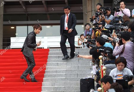 Kim Jae-joong South Korean actor and singer Kim Jae-joong waves at the Seoul International Drama Awards in Seoul, South Korea