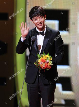 Lee Joong-gi South Korean actor Lee Joon-gi gestures at the Seoul International Drama Awards in Seoul, South Korea