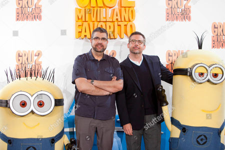 Florentino Fernandez, Steve Carell Spanish presenter and voice actor Florentino Fernandez (L) and American actor Steve Carell poses during the photocall of 'Despicable Me 2' at Villamagna hotel in Madrid, Spain