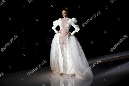 Michaela Kocianova Michaela Kocianova displays a Spring/Summer design by Andres Sarda during Madrid's Fashion Week, in Madrid, Spain