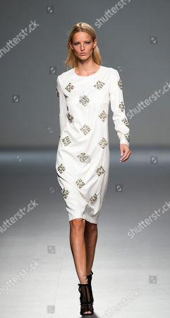 Michaela Kocianova Michaela Kocianova displays a Spring/Summer design by Angel Schlesser during Madrid's Fashion Week, in Madrid, Spain