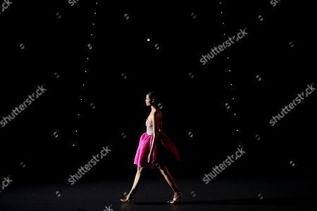 Sheila Marquez displays a Spring/Summer design by Hannibal Laguna during Madrid's Fashion Week, in Madrid, Spain