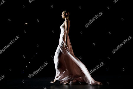 Stock Picture of Michaela Kocianova displays a Spring/Summer design by Hannibal Laguna during Madrid's Fashion Week, in Madrid, Spain