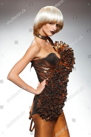 Stock Image of Michaela Kocianova displays a Spring/Summer design by Maya Hansen during Madrid's Fashion Week, in Madrid, Spain