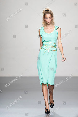 Michaela Kocianova Michaela Kocianova displays a Spring/Summer design by Miguel Palacio during Madrid's Fashion Week, in Madrid, Spain