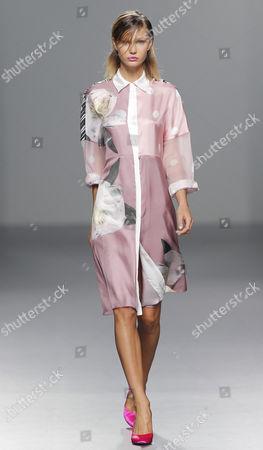Model Isabella Lindblom displays a Spring/Summer design by Moises Nieto during Madrid's Fashion Week, in Madrid, Spain